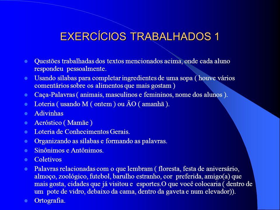 EXERCÍCIOS TRABALHADOS 1 Questões trabalhadas dos textos mencionados acima, onde cada aluno respondeu pessoalmente. Usando sílabas para completar ingr