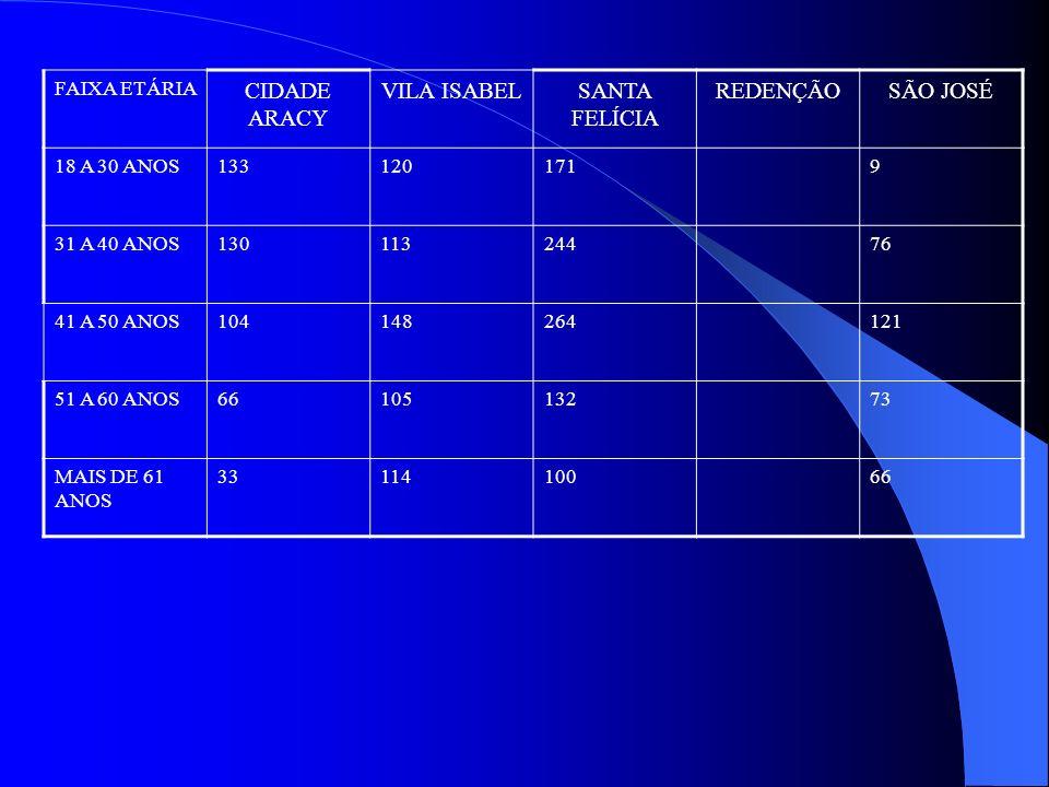 FAIXA ETÁRIA CIDADE ARACY VILA ISABELSANTA FELÍCIA REDENÇÃOSÃO JOSÉ 18 A 30 ANOS1331201719 31 A 40 ANOS13011324476 41 A 50 ANOS104148264121 51 A 60 AN