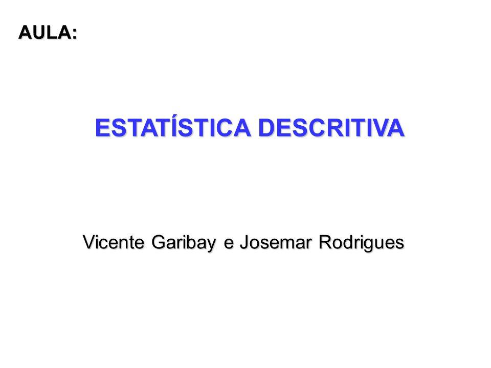 ESTATÍSTICA DESCRITIVA Vicente Garibay e Josemar Rodrigues AULA: