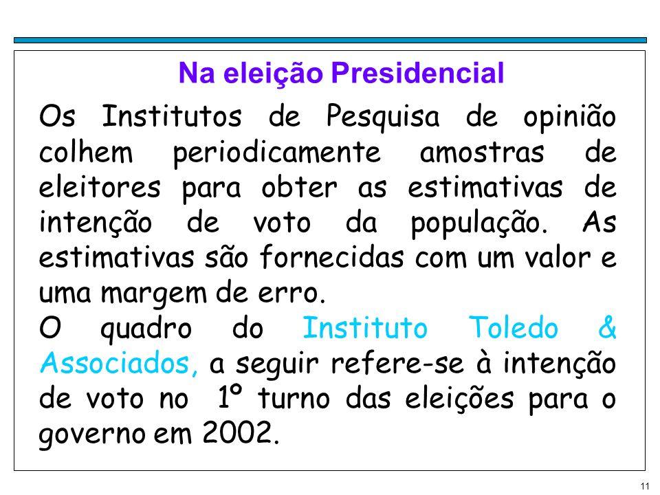 11 Na eleição Presidencial Os Institutos de Pesquisa de opinião colhem periodicamente amostras de eleitores para obter as estimativas de intenção de v