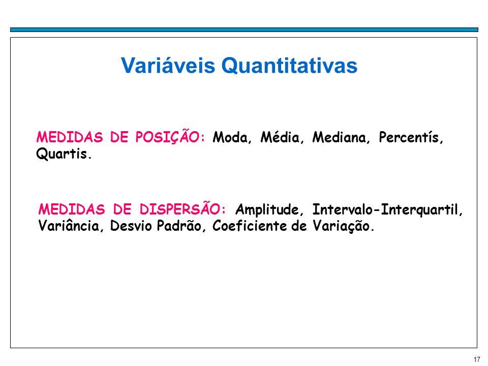 17 Variáveis Quantitativas MEDIDAS DE POSIÇÃO: Moda, Média, Mediana, Percentís, Quartis. MEDIDAS DE DISPERSÃO: Amplitude, Intervalo-Interquartil, Vari