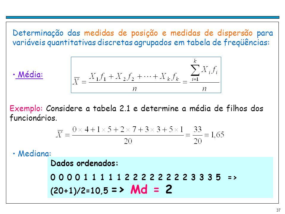 37 Determinação das medidas de posição e medidas de dispersão para variáveis quantitativas discretas agrupados em tabela de freqüências: Média: Exempl