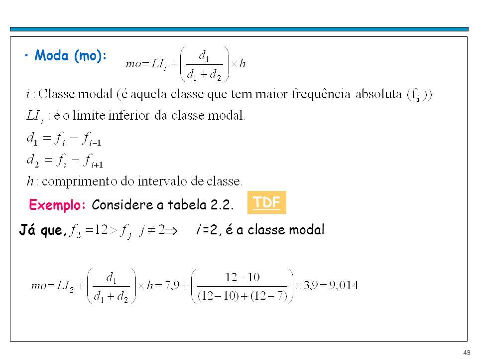 49 Moda (mo): Exemplo: Considere a tabela 2.2. Já que, i =2, é a classe modal TDF