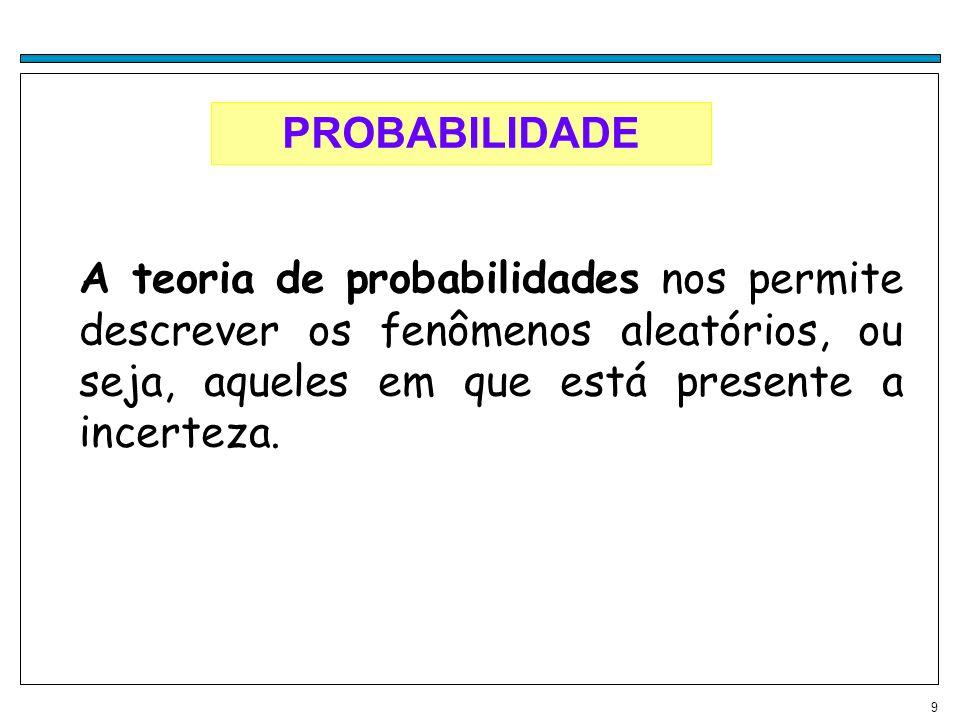 9 PROBABILIDADE A teoria de probabilidades nos permite descrever os fenômenos aleatórios, ou seja, aqueles em que está presente a incerteza.