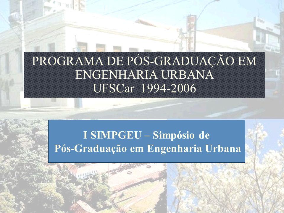 PROGRAMA DE PÓS-GRADUAÇÃO EM ENGENHARIA URBANA UFSCar 1994-2006 I SIMPGEU – Simpósio de Pós-Graduação em Engenharia Urbana