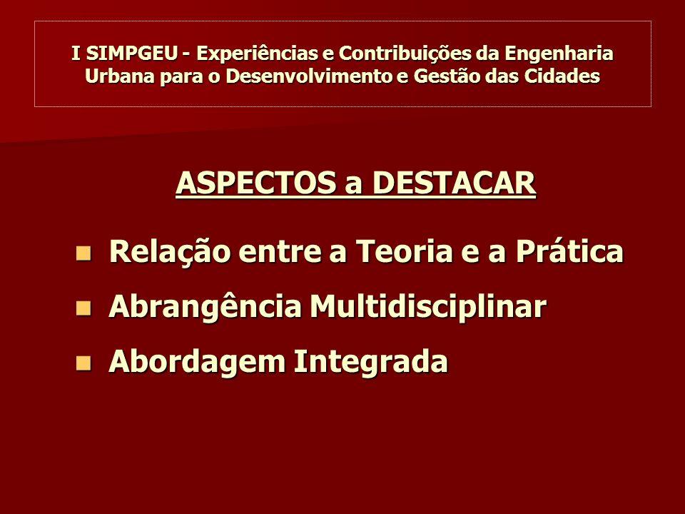 I SIMPGEU - Experiências e Contribuições da Engenharia Urbana para o Desenvolvimento e Gestão das Cidades ASPECTOS a DESTACAR Relação entre a Teoria e a Prática Relação entre a Teoria e a Prática Abrangência Multidisciplinar Abrangência Multidisciplinar Abordagem Integrada Abordagem Integrada