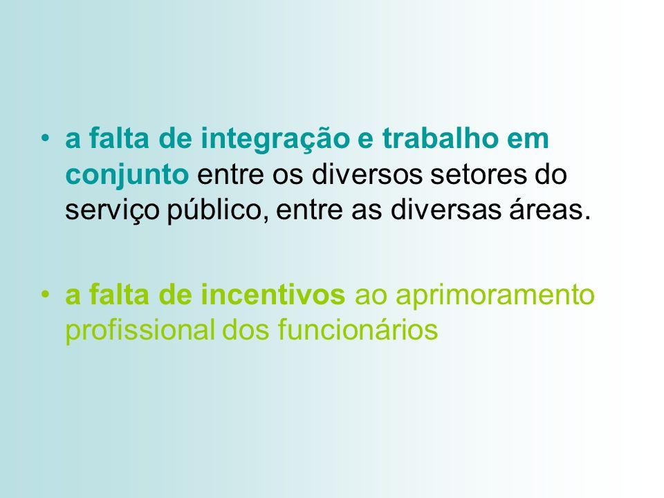 a falta de integração e trabalho em conjunto entre os diversos setores do serviço público, entre as diversas áreas.