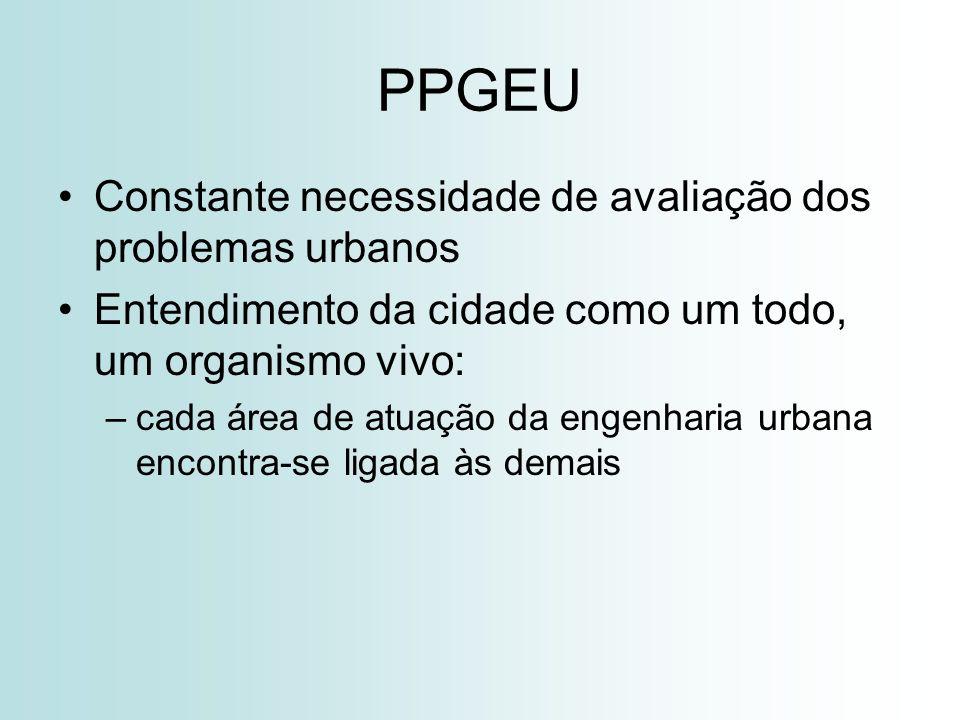 PPGEU Constante necessidade de avaliação dos problemas urbanos Entendimento da cidade como um todo, um organismo vivo: –cada área de atuação da engenharia urbana encontra-se ligada às demais