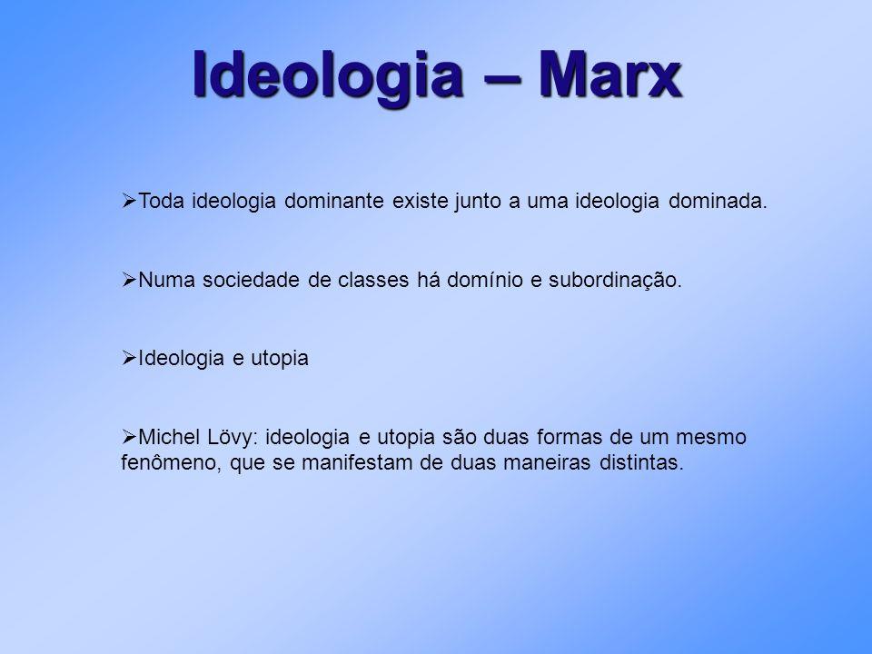 Ideologia – Marx Toda ideologia dominante existe junto a uma ideologia dominada. Numa sociedade de classes há domínio e subordinação. Ideologia e utop