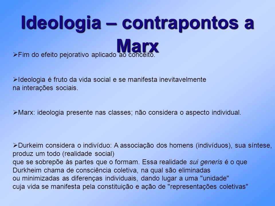 Ideologia – contrapontos a Marx Fim do efeito pejorativo aplicado ao conceito. Ideologia é fruto da vida social e se manifesta inevitavelmente na inte