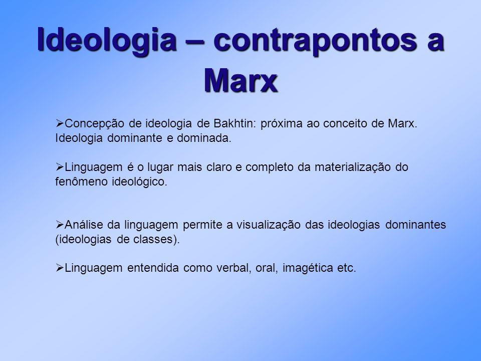 Concepção de ideologia de Bakhtin: próxima ao conceito de Marx. Ideologia dominante e dominada. Linguagem é o lugar mais claro e completo da materiali