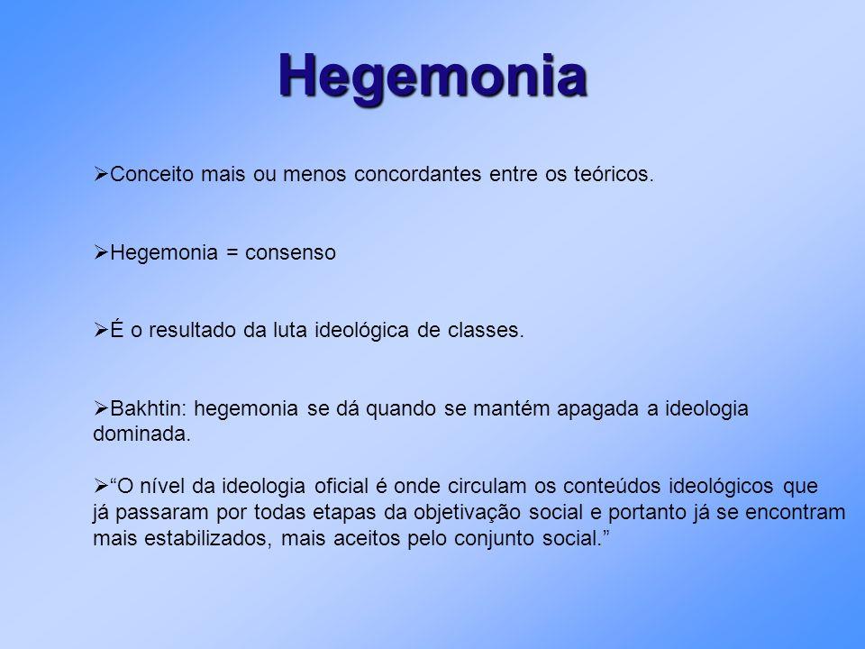 Hegemonia Conceito mais ou menos concordantes entre os teóricos. Hegemonia = consenso É o resultado da luta ideológica de classes. Bakhtin: hegemonia
