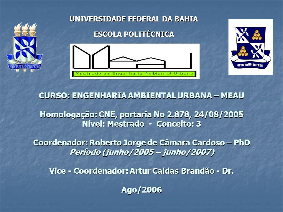CURSO: ENGENHARIA AMBIENTAL URBANA – MEAU Homologação: CNE, portaria No 2.878, 24/08/2005 Nível: Mestrado - Conceito: 3 Coordenador: Roberto Jorge de