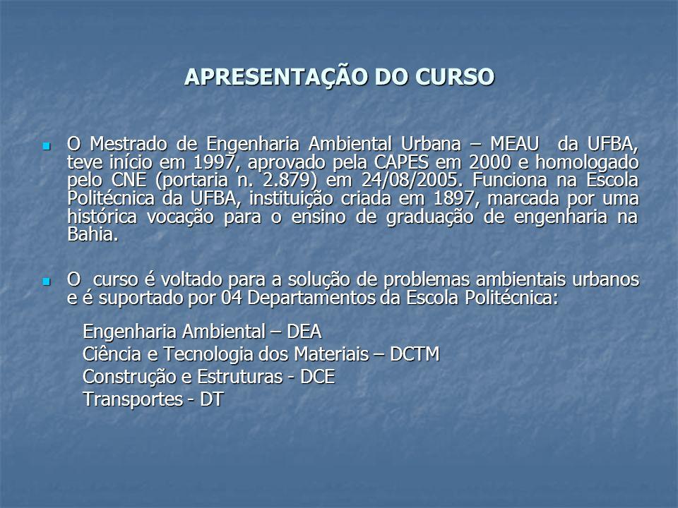 APRESENTAÇÃO DO CURSO O Mestrado de Engenharia Ambiental Urbana – MEAU da UFBA, teve início em 1997, aprovado pela CAPES em 2000 e homologado pelo CNE