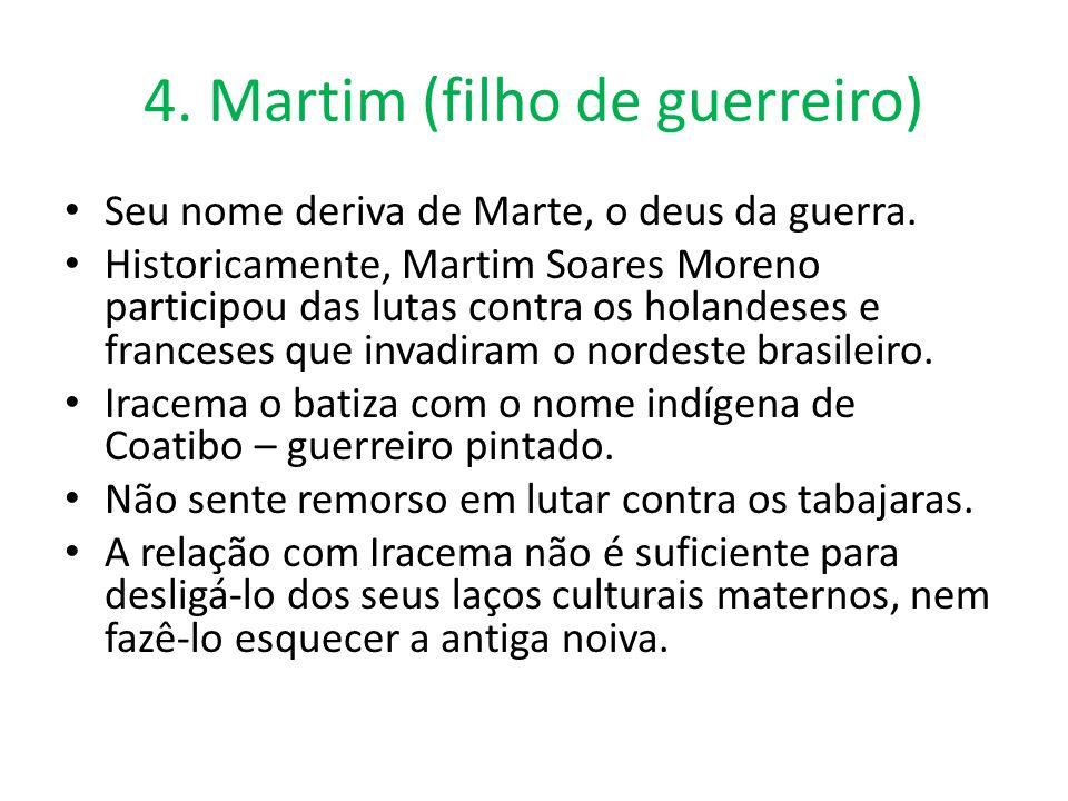 4. Martim (filho de guerreiro) Seu nome deriva de Marte, o deus da guerra. Historicamente, Martim Soares Moreno participou das lutas contra os holande