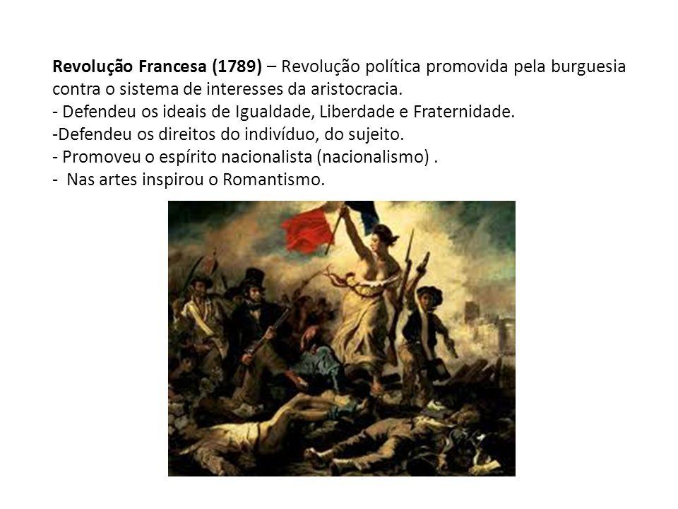 Revolução Francesa (1789) – Revolução política promovida pela burguesia contra o sistema de interesses da aristocracia.