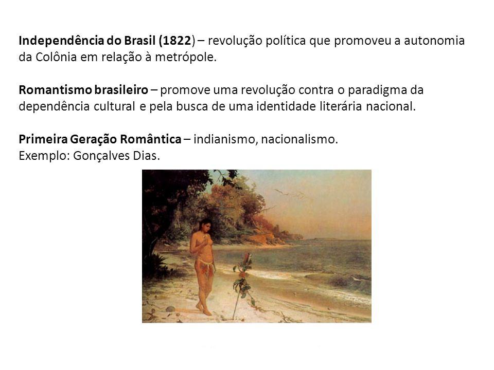 Independência do Brasil (1822) – revolução política que promoveu a autonomia da Colônia em relação à metrópole. Romantismo brasileiro – promove uma re