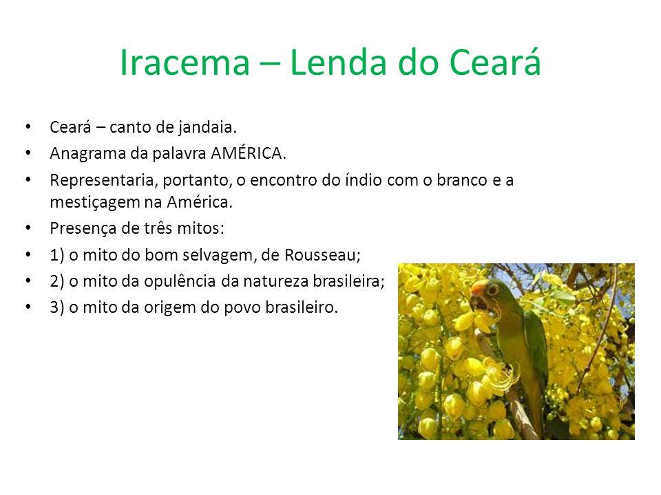 Iracema – Lenda do Ceará Ceará – canto de jandaia. Anagrama da palavra AMÉRICA. Representaria, portanto, o encontro do índio com o branco e a mestiçag