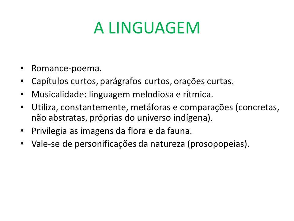 A LINGUAGEM Romance-poema. Capítulos curtos, parágrafos curtos, orações curtas. Musicalidade: linguagem melodiosa e rítmica. Utiliza, constantemente,