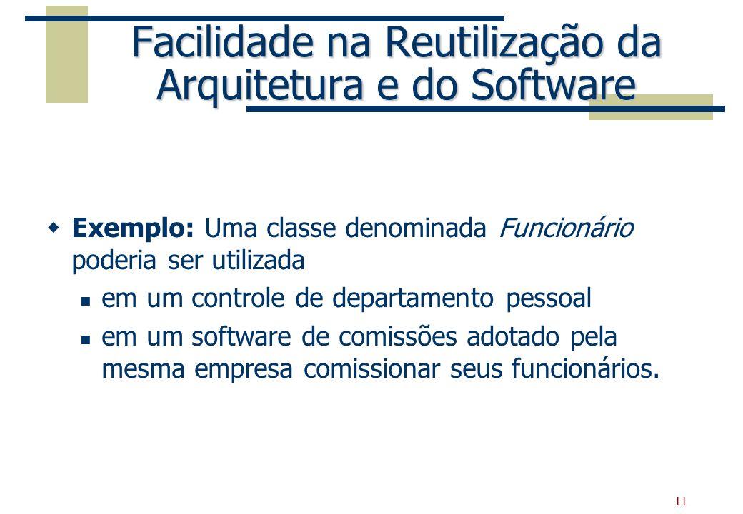 11 Facilidade na Reutilização da Arquitetura e do Software Exemplo: Uma classe denominada Funcionário poderia ser utilizada em um controle de departam