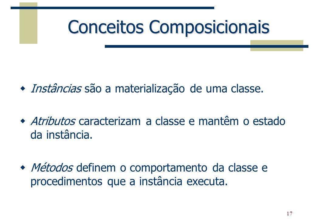 17 Conceitos Composicionais Instâncias são a materialização de uma classe. Atributos caracterizam a classe e mantêm o estado da instância. Métodos def