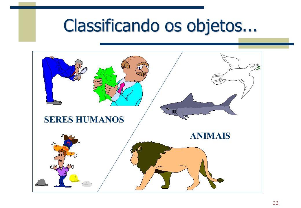 22 Classificando os objetos... SERES HUMANOS ANIMAIS