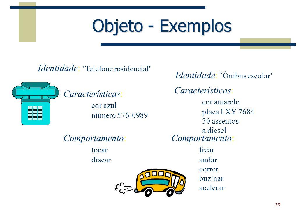29 Objeto - Exemplos Identidade: Telefone residencial Características: cor azul número 576-0989 Comportamento: tocar discar Identidade: Ônibus escolar