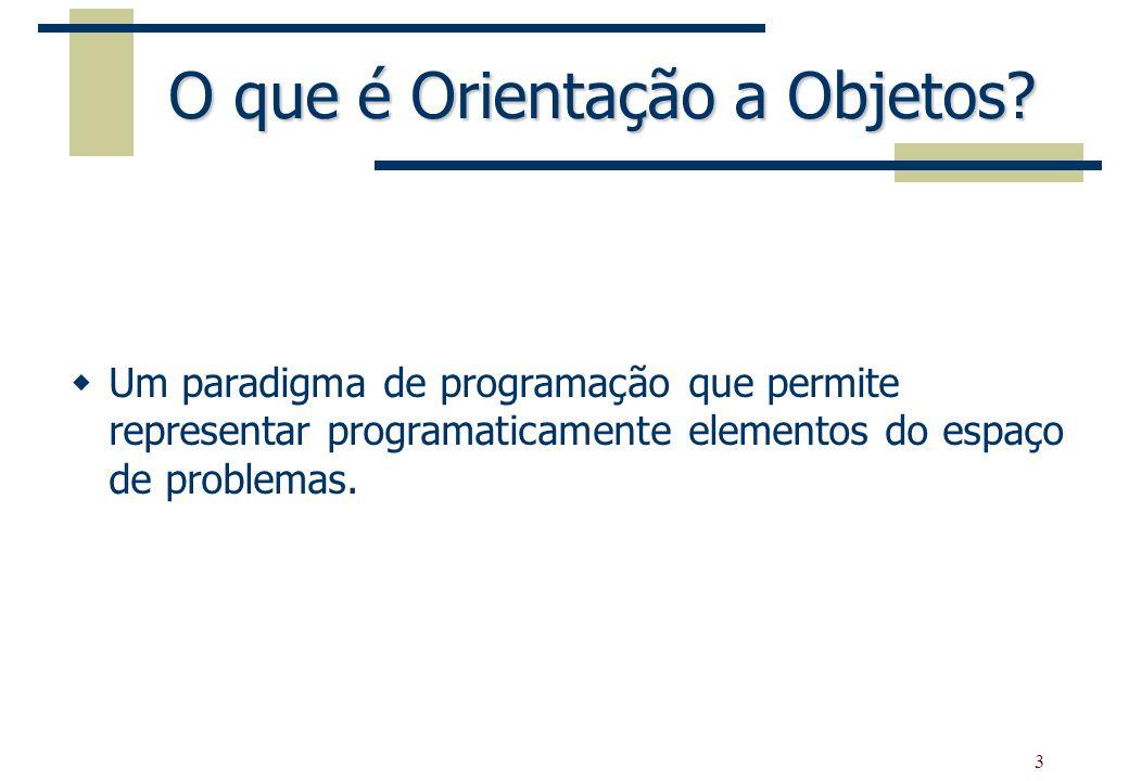 3 O que é Orientação a Objetos? Um paradigma de programação que permite representar programaticamente elementos do espaço de problemas.