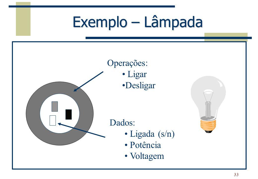 33 Exemplo – Lâmpada Dados: Ligada (s/n) Potência Voltagem Operações: Ligar Desligar