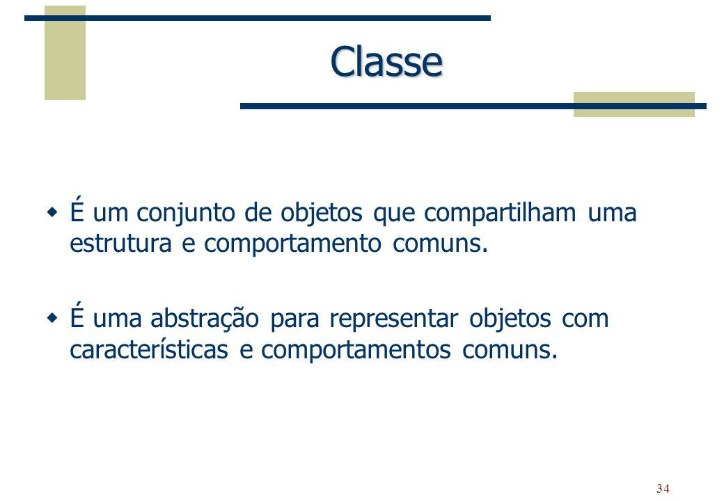 34 Classe É um conjunto de objetos que compartilham uma estrutura e comportamento comuns. É uma abstração para representar objetos com características