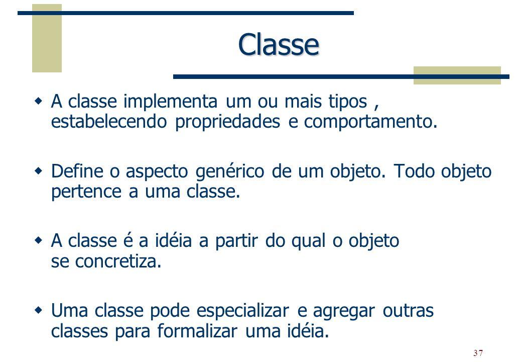 37 Classe A classe implementa um ou mais tipos, estabelecendo propriedades e comportamento. Define o aspecto genérico de um objeto. Todo objeto perten