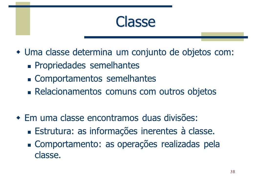38 Classe Uma classe determina um conjunto de objetos com: Propriedades semelhantes Comportamentos semelhantes Relacionamentos comuns com outros objet