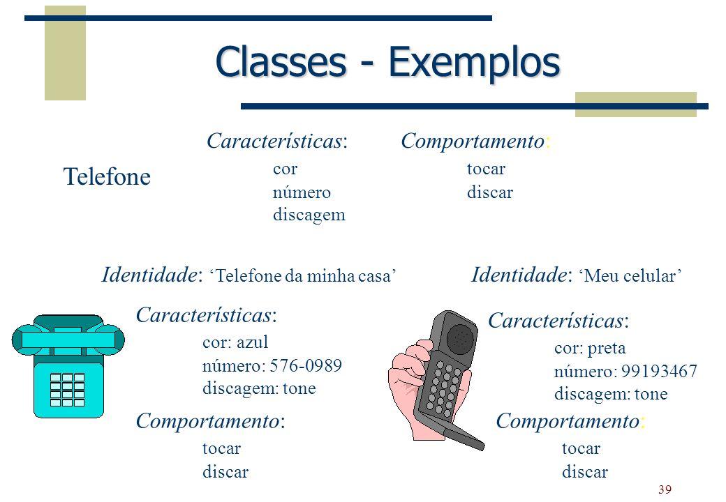 39 Classes - Exemplos Características: cor número discagem Comportamento: tocar discar Telefone Identidade: Meu celular Características: cor: preta nú