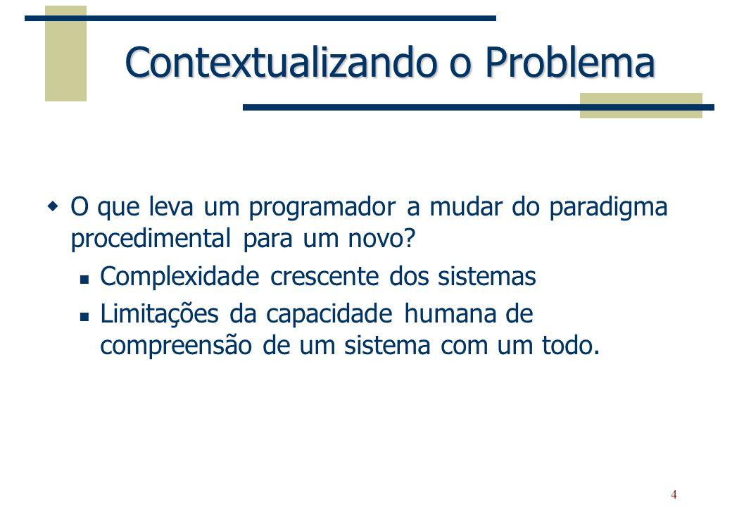 4 Contextualizando o Problema O que leva um programador a mudar do paradigma procedimental para um novo? Complexidade crescente dos sistemas Limitaçõe