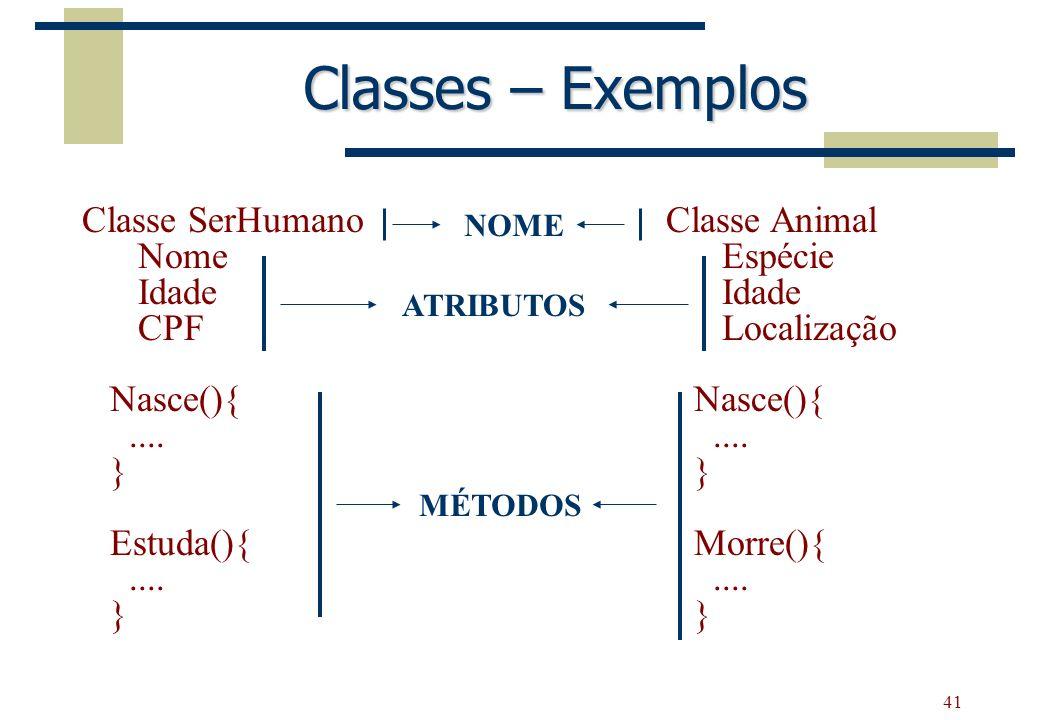 41 Classes – Exemplos Classe SerHumano Nome Idade CPF Nasce(){.... } Estuda(){.... } Classe Animal Espécie Idade Localização Nasce(){.... } Morre(){..