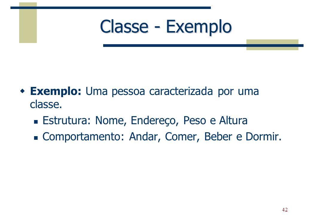 42 Classe - Exemplo Exemplo: Uma pessoa caracterizada por uma classe. Estrutura: Nome, Endereço, Peso e Altura Comportamento: Andar, Comer, Beber e Do