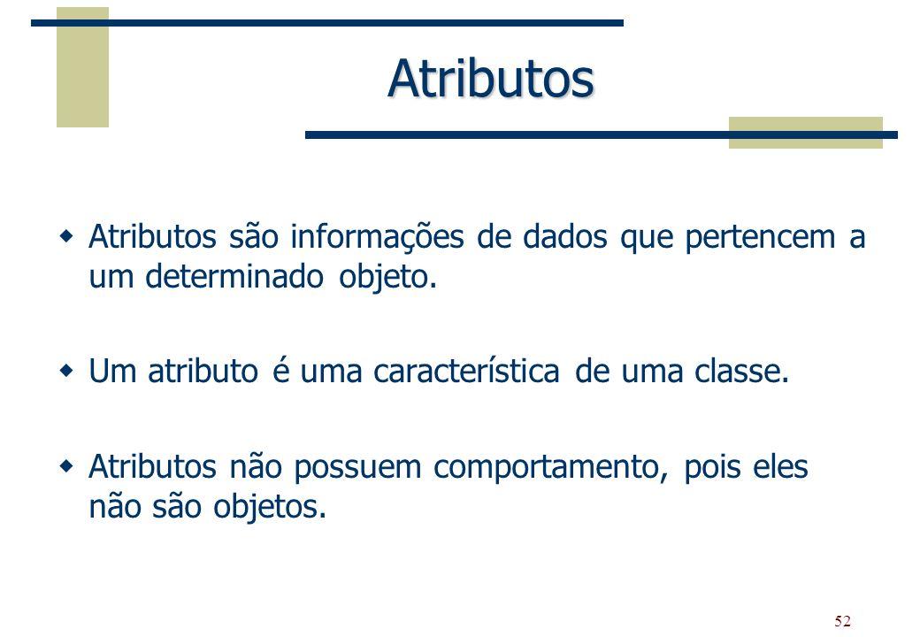 52 Atributos Atributos são informações de dados que pertencem a um determinado objeto. Um atributo é uma característica de uma classe. Atributos não p