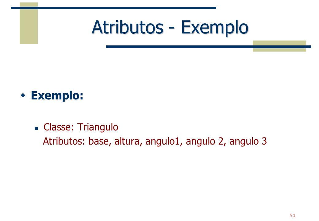 54 Atributos - Exemplo Exemplo: Classe: Triangulo Atributos: base, altura, angulo1, angulo 2, angulo 3