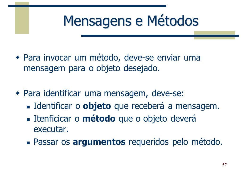 57 Mensagens e Métodos Para invocar um método, deve-se enviar uma mensagem para o objeto desejado. Para identificar uma mensagem, deve-se: Identificar