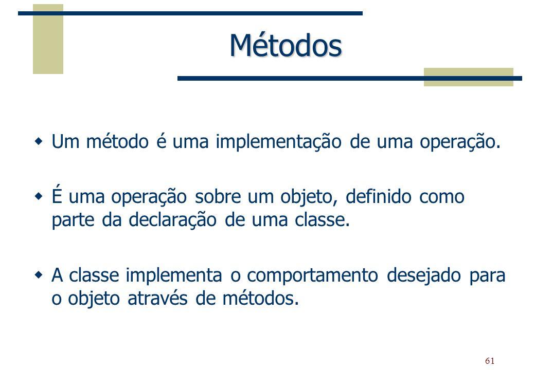 61 Métodos Um método é uma implementação de uma operação. É uma operação sobre um objeto, definido como parte da declaração de uma classe. A classe im
