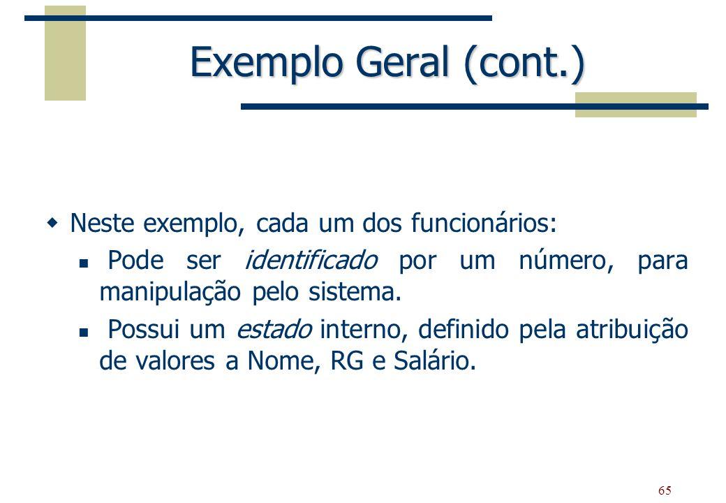 65 Exemplo Geral (cont.) Neste exemplo, cada um dos funcionários: Pode ser identificado por um número, para manipulação pelo sistema. Possui um estado