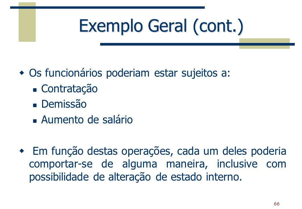 66 Exemplo Geral (cont.) Os funcionários poderiam estar sujeitos a: Contratação Demissão Aumento de salário Em função destas operações, cada um deles