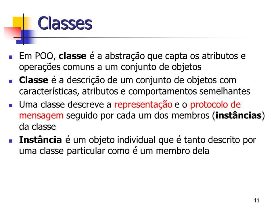 11 Classes Em POO, classe é a abstração que capta os atributos e operações comuns a um conjunto de objetos Classe é a descrição de um conjunto de obje