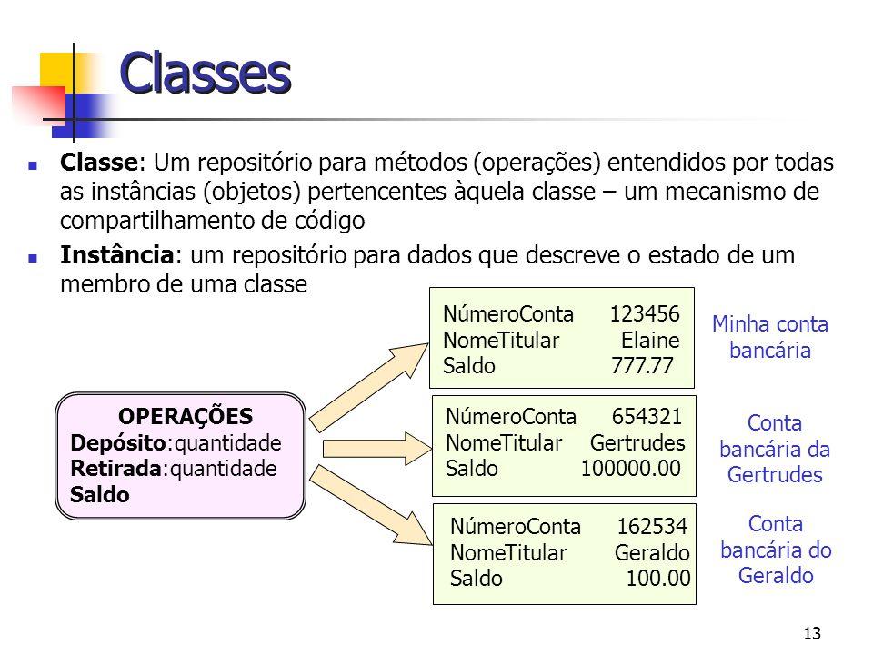 13 Classes Classe: Um repositório para métodos (operações) entendidos por todas as instâncias (objetos) pertencentes àquela classe – um mecanismo de c