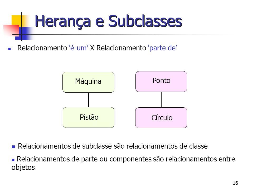 16 Herança e Subclasses Relacionamento é-um X Relacionamento parte de Relacionamentos de subclasse são relacionamentos de classe Relacionamentos de pa