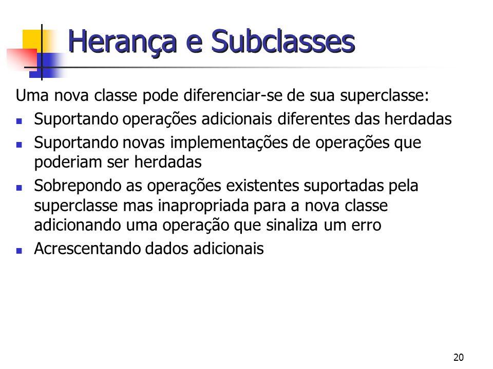 20 Herança e Subclasses Uma nova classe pode diferenciar-se de sua superclasse: Suportando operações adicionais diferentes das herdadas Suportando nov