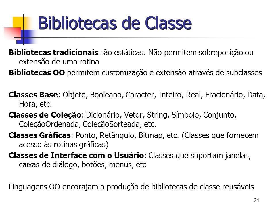 21 Bibliotecas de Classe Bibliotecas tradicionais são estáticas. Não permitem sobreposição ou extensão de uma rotina Bibliotecas OO permitem customiza