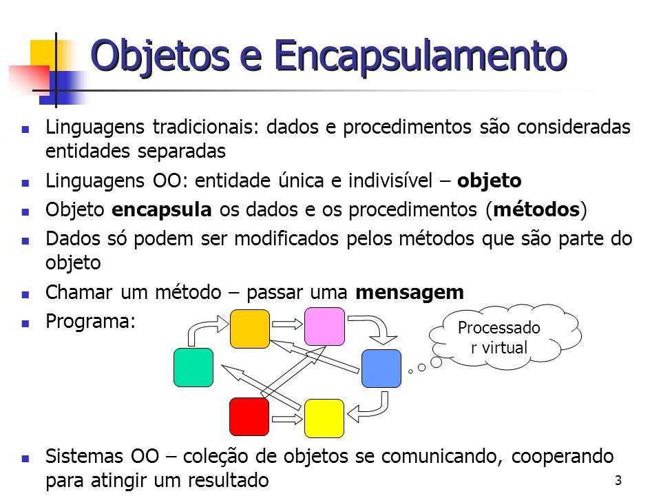 4 Exemplo: Um ponto em um plano bidimensional que suporte o seguinte protocolo mensagens: Recuperar a coordenada x Recuperar a coordenada y Retornar um novo ponto igual a inversão do ponto (inverter) Comparar (<) dois pontos (Retorna um booleano) Adicionar (+) dois pontos (Retorna um outro ponto) Objetos e Encapsulamento Estado Variáveis de instância Operações Métodos (código) x y inverter < umPonto + umPonto coordenada x coordenada y 100 225
