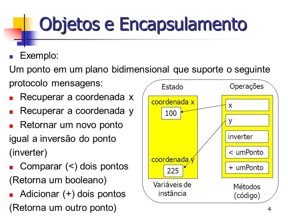 5 Objetos e Encapsulamento Encapsulamento – usuários de um objeto não precisam (ou não deveriam) acessar a representação ou a implementação de operações.