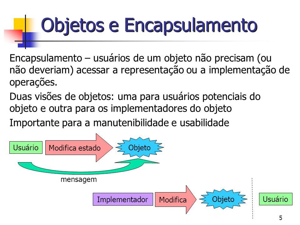 5 Objetos e Encapsulamento Encapsulamento – usuários de um objeto não precisam (ou não deveriam) acessar a representação ou a implementação de operaçõ